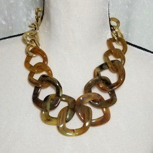 Vintage Two-Tone Resin Large Link Necklace